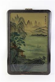 Sale 8766 - Lot 95 - Framed Oriental Painting Behind Glass Landscape Scene (37cm x 58cm)