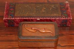 Sale 9097H - Lot 50 - A leather box by Sydney Leather Artist Garry Greenwood together with a vintage example, larger 37cm x 15cm