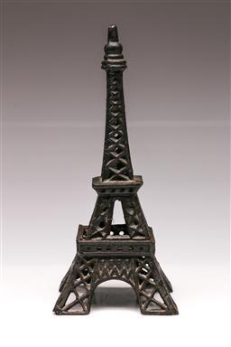Sale 9107 - Lot 38 - A Cast Iron Two Piece Eiffel Tower (H 32cm)