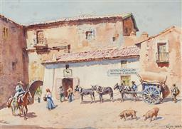 Sale 9161 - Lot 514 - LIONEL LINDSAY (1874 - 1961) Venta de Cereales, Harinas y Salvado, Sevilla watercolour 26.5 x 37.5 cm (frame: 50 x 63 x 2 cm) signed...