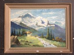 Sale 9147 - Lot 2092 - KIMBERLY JOHNSON Mountain landscape oil on board, frame: 60 x 79 cm, signed lower left -