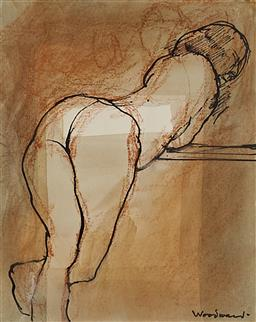 Sale 9170A - Lot 5088 - MARGARET WOODWARD (1938 - ) Model, Resting pastel, pen, ink and wash 12 x 10 cm (frame: 40 x 37 x 5 cm) signed lower right