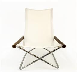 Sale 9252AD - Lot 5009 - TAKESHI NII NY FOLDING CHAIR BY JOX INTERNI,1950s: restored timber arms and new canvas upholstery with metal frame, a multi-award...