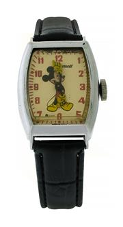 Sale 8406A - Lot 42 - Early Mickey Mouse wristwatch by Ingersoll, US Time in Art Deco case, case measures 26 x 38 x 10mm, fully restored