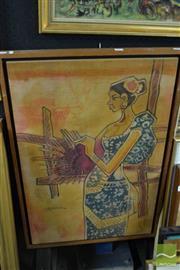 Sale 8464 - Lot 2065 - Malaysian School - Weaving, 1973 84.5 x 56cm