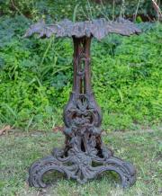 Sale 8795A - Lot 21 - A cast iron tri legged jardiniere stand, H 65 x 49cm in diameter