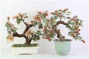 Sale 8818N - Lot 723 - Pair Of Glass Faux Trees In Ceramic Pots