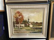 Sale 8891 - Lot 2086 - Artist Unknown - Autumn town scene with church, oil on canvas on board, 59 x 67.5cm (frame), unsigned