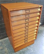 Sale 8984 - Lot 1014 - Vintage Maple Specimen Cabinet with Ten Glass Top Drawers (H:71 x W:54 x D:55cm)