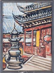 Sale 8994H - Lot 78 - Russian School - Chinese temple scene 33 x 24cm