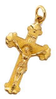Sale 9054 - Lot 381 - A 23CT GOLD CRUCIFORM PENDANT; 34 x 17.2mm, wt. 4.71g.