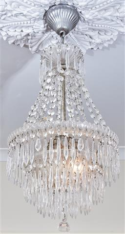 Sale 9103M - Lot 420 - A two tier chandelier with lustres, Height of total drop 84cm  (electrician required for dismount)