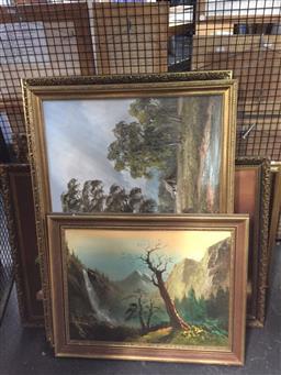 Sale 9147 - Lot 2082 - six original artworks depicting landscapes and still life, various sizes -