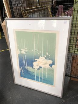 Sale 9147 - Lot 2073 - Ken Harbeck Safe Harbour, screenprint, ed 18/25, frame: 92 x 70 cm,