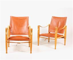 Sale 9252AD - Lot 5018 - PAIR OF KAARE KLINT SAFARI CHAIRS BY RUD RASMUSSEN, 1960s: classical and modern craftsmanship, oak frame leather seat and adjustable...