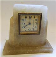 Sale 8362A - Lot 51 - A vintage alabaster alarm clock, probably French, Ht: 16 cm