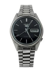 Sale 8406A - Lot 43 - Vintage mens Seiko 5 wristwatch, all stainless steel,  automatic, black dial with day / date, 35mm, in working order