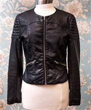 Sale 8474A - Lot 11 - A stylish French Connection biker style jacket in faux black leather, very good condition, size 12
