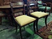 Sale 8539 - Lot 1033 - Set of Seven Regency Simulated Rosewood & Brass Inlaid Chairs