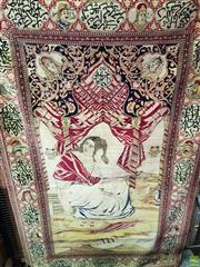 Sale 8576 - Lot 1018 - Rare Persian Possibly Tabriz Pictorial Wool Carpet, depicting Fatima & her two sons al-Hasan & al-Hussayn as well as the portraits o...