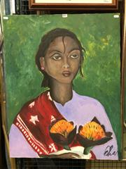 Sale 8663 - Lot 2141 - Artist Unknown - Portrait of a Woman Holding Dahlias, acrylic on canvas, 77 x 60.5cm (frame size), signed lower right -