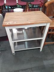 Sale 8676 - Lot 1129 - Timber Top Kitchen Island with Two Stainless Steel Shelves