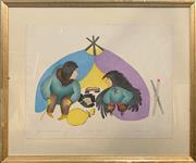 Sale 8870 - Lot 2046 - Agnes Nanogak - Orphan with Raven Spirit, 1999 50.5 x 64.5 cm