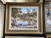 Sale 8891 - Lot 2085 - S Price - Tranquil reflections, Cox river, oil on board, 60.5 x 70.5cm, signed
