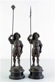 Sale 8968 - Lot 8 - Pair of spelter guards (H44cm)