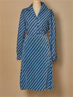 Sale 9093F - Lot 45 - A Vintage Emilio Pucci 2 piece blue Checked long sleeve shirt with matching knee length velvet skirt