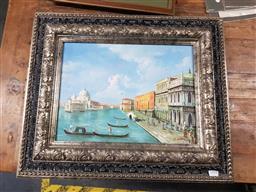 Sale 9127 - Lot 2095 - J. Glen Venetian Scene, oil on board, frame: 50 x 59 cm, signed lower right