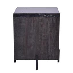 Sale 9180F - Lot 10 - A modern black with white vein marble top square side table. Brushed dark reclaimed timber base on mat black metal frame. (W 52cm x...