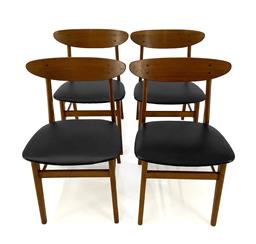 Sale 9252AD - Lot 5029 - FARSTRUP TEAK AND BEECH DINING CHAIRS, c1950s (SET OF 4): teak and beech frame with black vinyl seating (w. 46.5 , d. 47, h. 77 cm,...