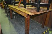 Sale 8337 - Lot 1027 - Kitchen Table with Two Drawers on Square Legs