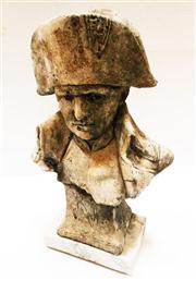 Sale 8362A - Lot 52 - A French Napoleon Bonaparte cast stone bust garden figure on marble base, size: 35 x 26 cm