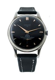 Sale 8406A - Lot 44 - Vintage mens large Longines wristwatch, circa 1950 -60s, 37.30 mm, black dial with Argentine Air force logo, manual wind, stainles...