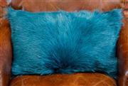 Sale 8420A - Lot 39 - A peacock green goat fur lumbar cushion, 52cm x 52cm, condition: new
