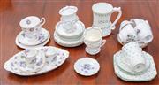 Sale 9058H - Lot 51 - A quantity of English and Irish bone china tea wares comprising Paragon, Royal Veil, Tara Ware etc with Shamrock, Violet and swag de...