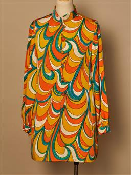 Sale 9093F - Lot 44 - A Geoffrey Beene Multi Coloured swirl long sleeved knee length dress size 10