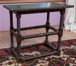 Sale 9120H - Lot 33 - An C18th oak occasional table on bobbin turned supports, Height 62cm x Width 72cm x Depth 41cm