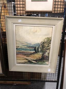 Sale 9147 - Lot 2049 - Artist Unknown Country Landscape, c1940s watercolour (A.f) 57 x 42 cm, unsigned