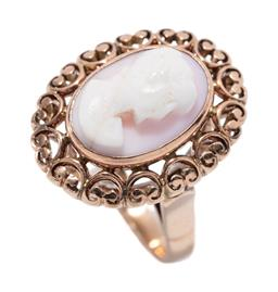 Sale 9213 - Lot 358 - A VINTAGE GOLD CAMEO RING; centring a pink shell cameo  featuring a classical portrait to a pierced heart shape surround, tests 12ct...