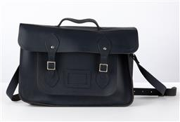 Sale 9250F - Lot 68 - A Cambridge satchel Company blue leather bag, Width 38cm.