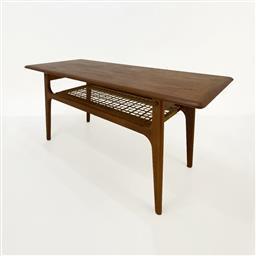 Sale 9252AD - Lot 5050 - DANISH TEAK SOFA TABLE BY TRIOH MOBLER, 1960s: restored with raw oil finish, rattan shelf below (h. 52.5 , l. 120, d. 52 cm)