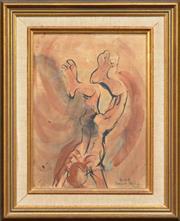 Sale 8286 - Lot 562 - Donald Friend (1915 - 1989) - Diver, Bali 34.5 x 25cm