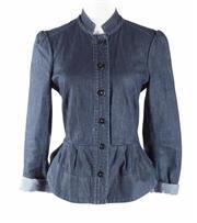Sale 8493A - Lot 47 - A Wayne Cooper dark blue denim riding jacket with peplum waist, size 1