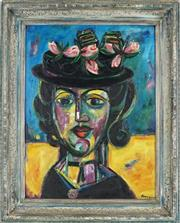 Sale 8936 - Lot 2002 - Elwyn Lynn (1917 - 1997) Black Hat oil on board (AF) 48 x 36cm, signed lower right; signed and titled verso and inscribed Elwyn Ly...