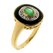 Sale 8982 - Lot 342 - A 9CT GOLD DECO STYLE GEMSET RING; central oval cut emerald surrounded by round brilliant cut diamonds to an onyx border, size O, to...