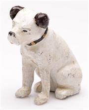 Sale 9052 - Lot 35 - A Cast Iron Money Box of an HMV Dog (H:10cm)