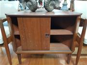 Sale 9063 - Lot 1040 - Teak Corner Cabinet with Single Slide Door on Raised Feet  (H70 x W81 x D46cm)